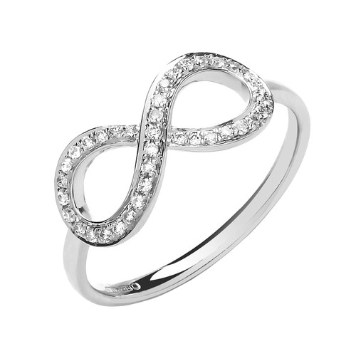 9ct White Gold Diamond Infinity Ring