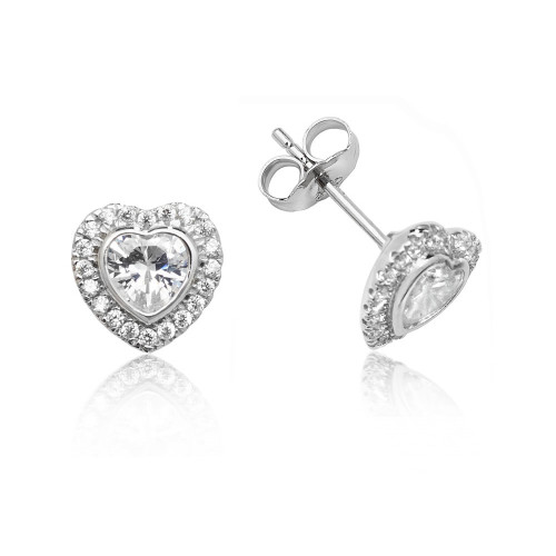 Luminous Silver Heart Halo Stud Earrings