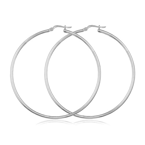 9ct White Gold Large Hoop Earrings 50mm