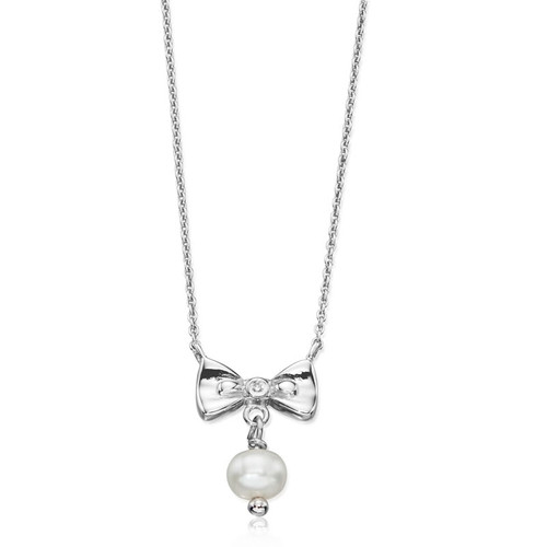 Children's Silver Bridesmaid's Pearl Bow Necklace