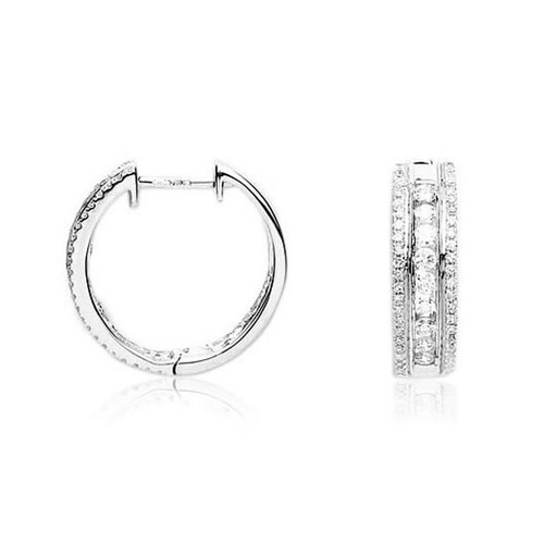 18ct White Gold 0.65ct Diamond Huggie Hoop Earrings