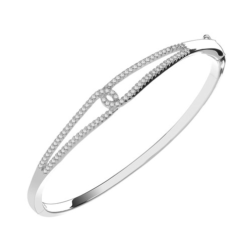 Sterling Silver Cubic Zirconia Interlinked Bangle