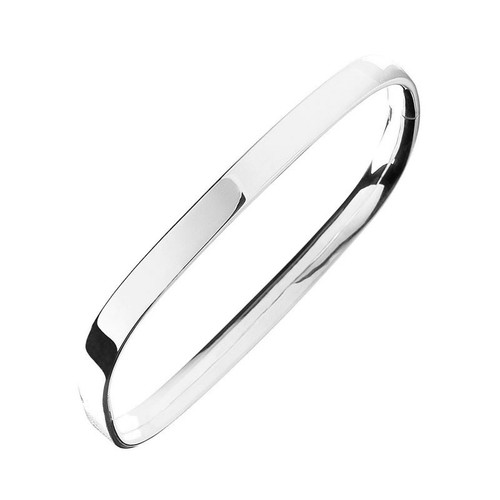 Sterling Silver Solid Square Hinged Bangle