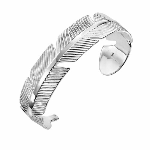 Sterling Silver Solid Feather Bangle