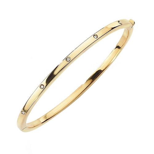 9ct Gold Oval Diamond Bangle