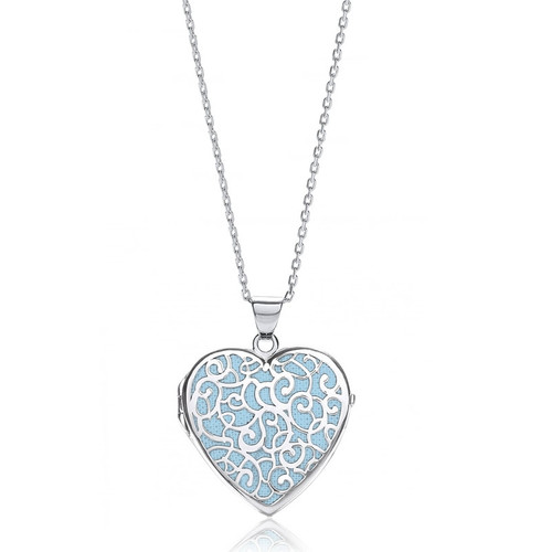 Silver Large Blue Filigree Heart Locket Necklace