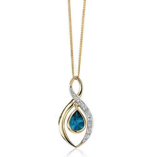 9ct Gold Diamond & London Blue Topaz Pendant