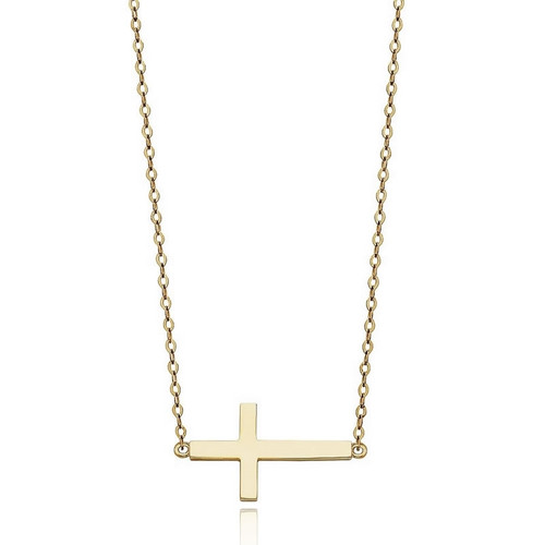 9ct Gold Sideways Cross Necklace