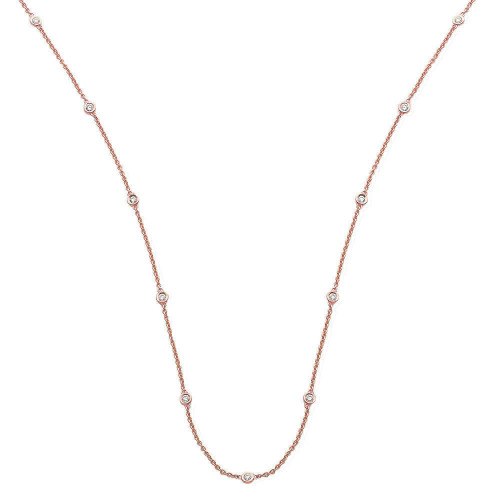 18ct Rose Gold 0.50ct Rubover Diamond Station Necklace