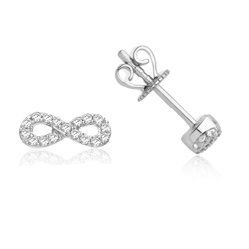 9ct White Gold 0.15ct Diamond Infinity Stud Earrings