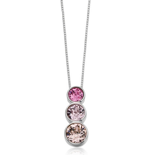 Silver Graduated Pink Swarovski Crystal Necklace