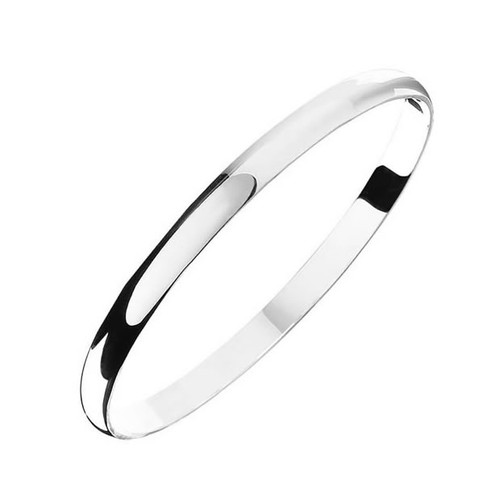 Sterling Silver Solid Plain Bangle 7mm