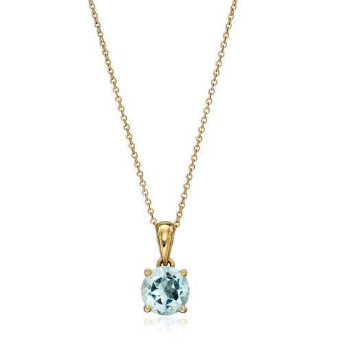 9ct Gold Aquamarine March Birthstone Pendant