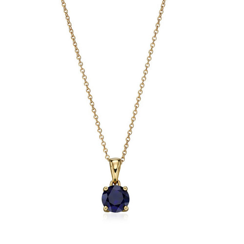 9ct Gold Created Sapphire September Birthstone Pendant
