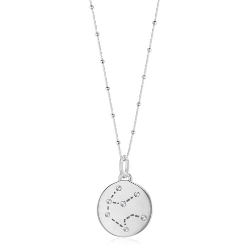 Silver Aquarius Zodiac Constellation Disc Necklace