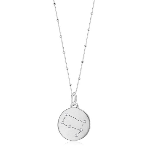 Silver Gemini Zodiac Constellation Disc Necklace
