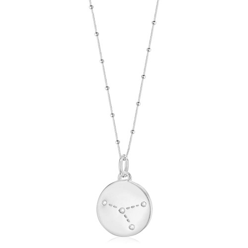 Silver Cancer Zodiac Constellation Disc Necklace