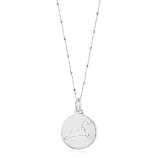 Silver Leo Zodiac Constellation Disc Necklace