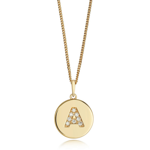 9ct Gold Diamond Initial Circle Disc Necklace A