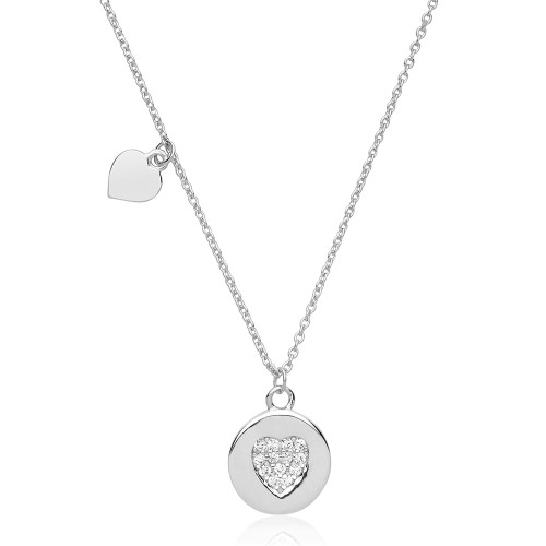 Silver Pave Heart Disc Tag Necklace