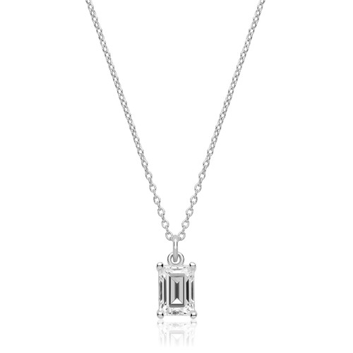 Luminous Silver Emerald Cut Pendant