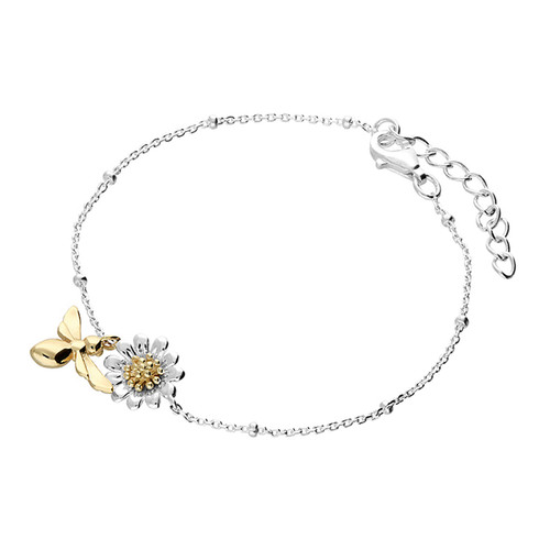 Silver Gold Plated Bee & Flower Bracelet