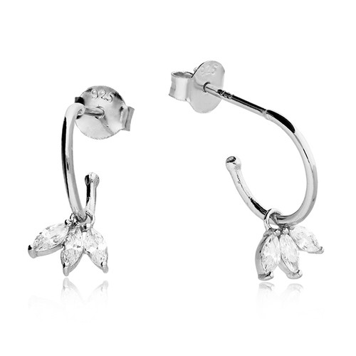 Silver Marquise Charm Hoop Earrings