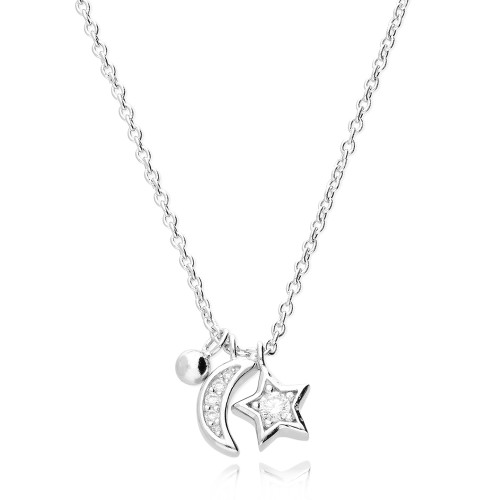 Silver Cubic Zirconia Moon & Star Necklace