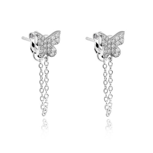 Sterling Silver Butterfly Chain Drop Earrings
