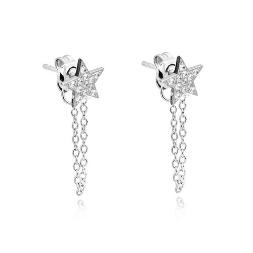Sterling Silver Star Chain Drop Earrings