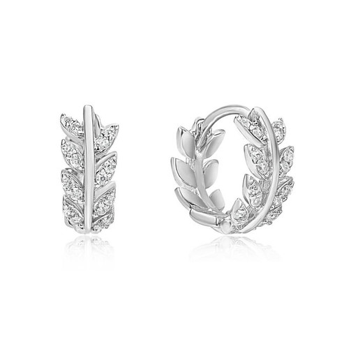 Silver Cubic Zirconia Leaf Huggie Hoop Earrings