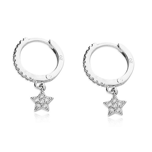 Silver Cubic Zirconia Star Charm Hoop Earrings