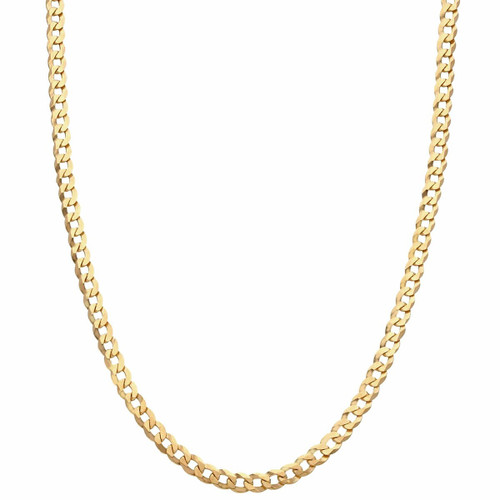 """Men's 9ct Gold Flat Bevelled Curb Chain 22"""""""