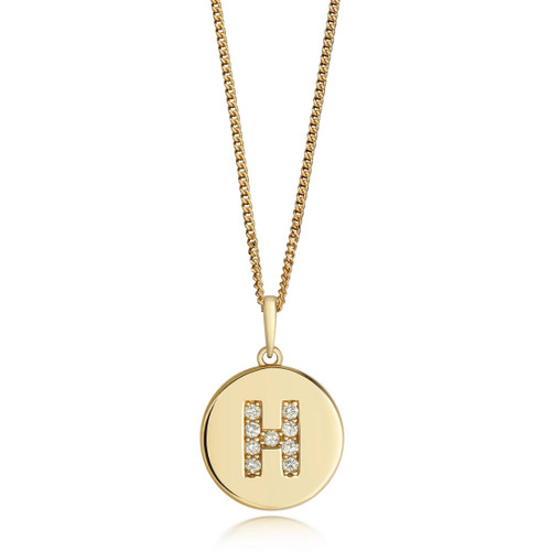 9ct Gold Diamond Initial Circle Disc Necklace H