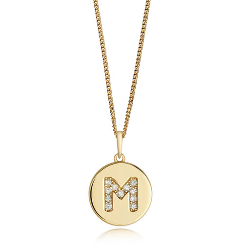 9ct Gold Diamond Initial Circle Disc Necklace M