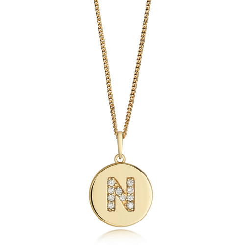 9ct Gold Diamond Initial Circle Disc Necklace N