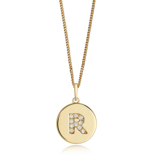 9ct Gold Diamond Initial Circle Disc Necklace R