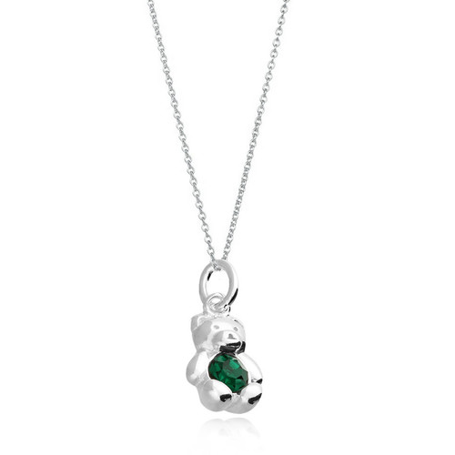 Children's Silver May Birthstone Bear Necklace