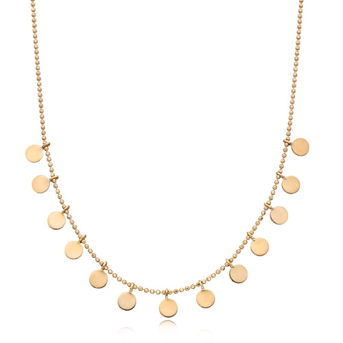 9ct Gold Beaded Disc Chain Necklace