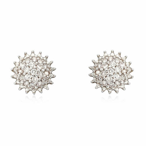 9ct Gold 0.10ct Diamond Cluster Earrings