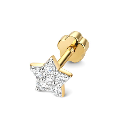 9ct Gold 0.11ct Diamond Star Cartilage Stud Earring