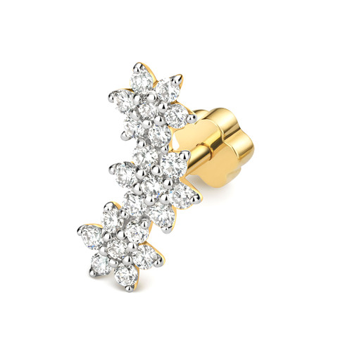 9ct Gold 0.23ct Diamond Cluster Cartilage Stud Earring