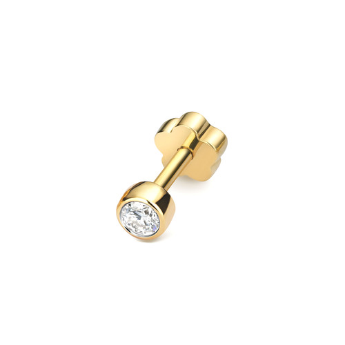 9ct Gold 0.07ct Solo Diamond Cartilage Stud Earring