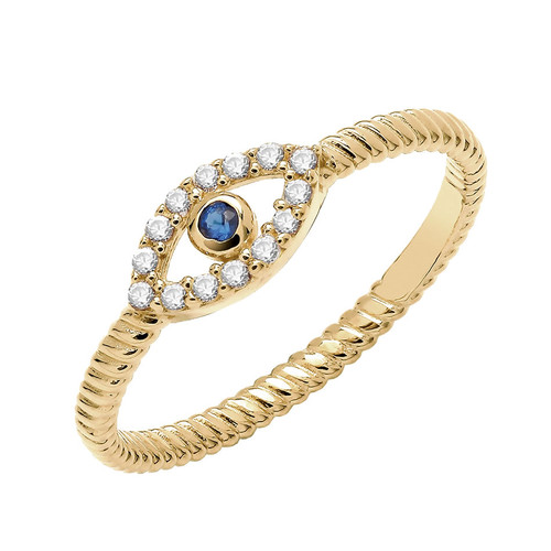 9ct Gold Evil Eye Protection Ring