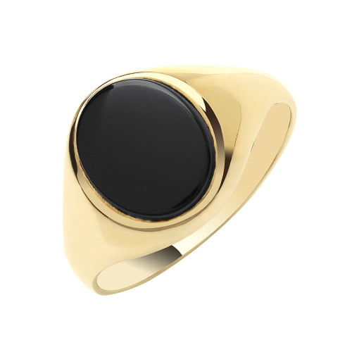 9ct Gold Oval Onyx Signet Ring