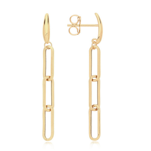 9ct Gold Oval Paperclip Chain Drop Earrings