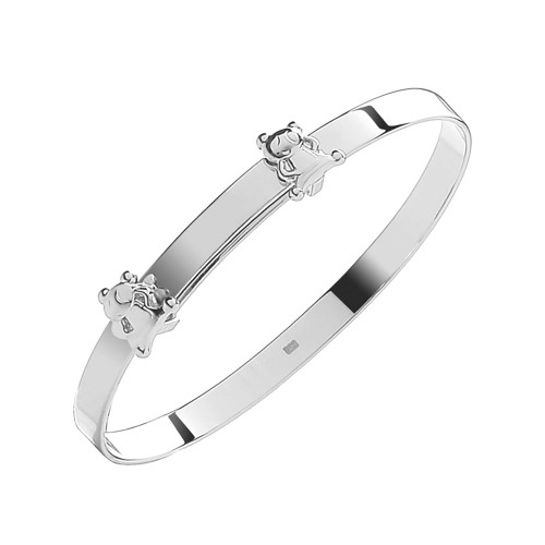 Sterling Silver Teddy Bear Expandable Baby Bangle