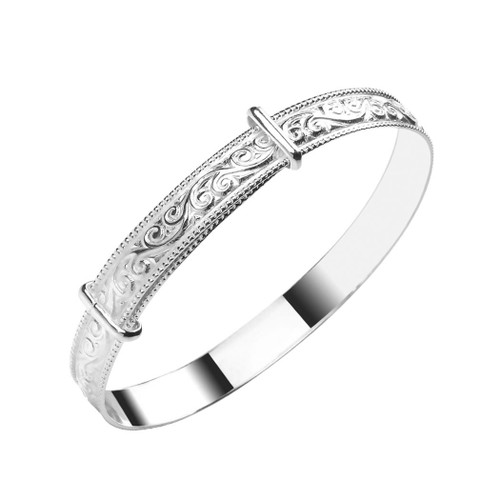 Sterling Silver Expandable Pattern Baby Bangle