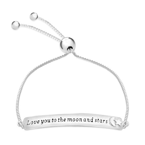 Silver 'Love You to The Moon & Stars' Adjustable Bracelet