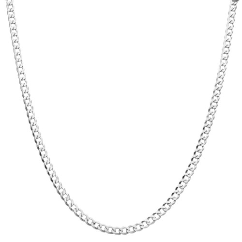 Men's Solid Silver Curb Chain Necklace 4mm